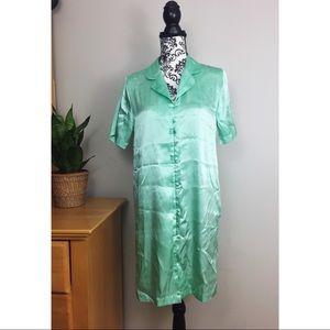 Jade Green Collar Button Sleepshirt Nightgown
